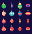 christmas tree toys new year xmas balls set vector image