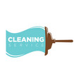 cleaning service logo label with mop and water vector image