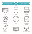 Computer Line Icons vector image