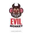 evil monkey head logo template vector image