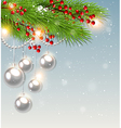 Green fir branch and white decorations vector image