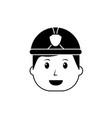 happy worker firefighter cartoon character vector image