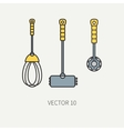 Line color kitchenware icons - hammer vector image