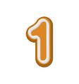 Number 1 gingerbread font peppermint honey-cake vector image