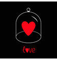 Red heart Glass bell cover cap Half sphere lid vector image