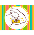 strong man hand with photo camera icon on vector image