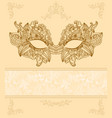 vintage background with venetian carnival mask vector image