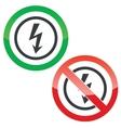 Voltage permission signs vector image