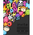 Game kawaii invite Cute gaming design elements vector image vector image