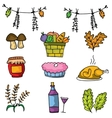 Doodle of food and element thanksgiving vector image