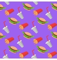 Fast food seamless pattern with cheeseburgers vector image