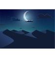 Desert landscapeDunes with crescent moon vector image