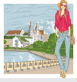 fashion stylish girl in the old city vector image