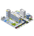 luxury hotel buildings isometric composition vector image