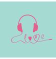 Pink headphones Blue background Love card vector image vector image