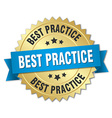 best practice 3d gold badge with blue ribbon vector image