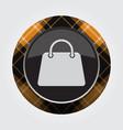 button with orange black tartan - handbag icon vector image