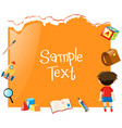 paper template with boy and school items vector image