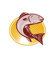 Red Drum Spot Tail Bass Fish Retro vector image