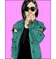 young beautiful woman show middle finger you vector image