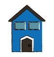 drawing blue house windows vector image