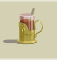 glass cup with tea in a gold cup holder vector image