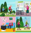 aged elderly people orthogonal composition set vector image