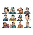 set pop art portraits of people men and women vector image vector image