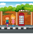 Two girls standing at the pavement vector image