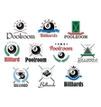 Billiard game emblems and symbols set vector image