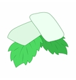Chewing gum with fresh mint leaves icon vector image