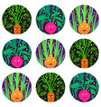 seamless pattern with funny vegetable characters vector image