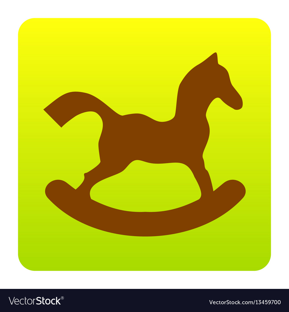 Horse toy sign brown icon at greenyellow vector