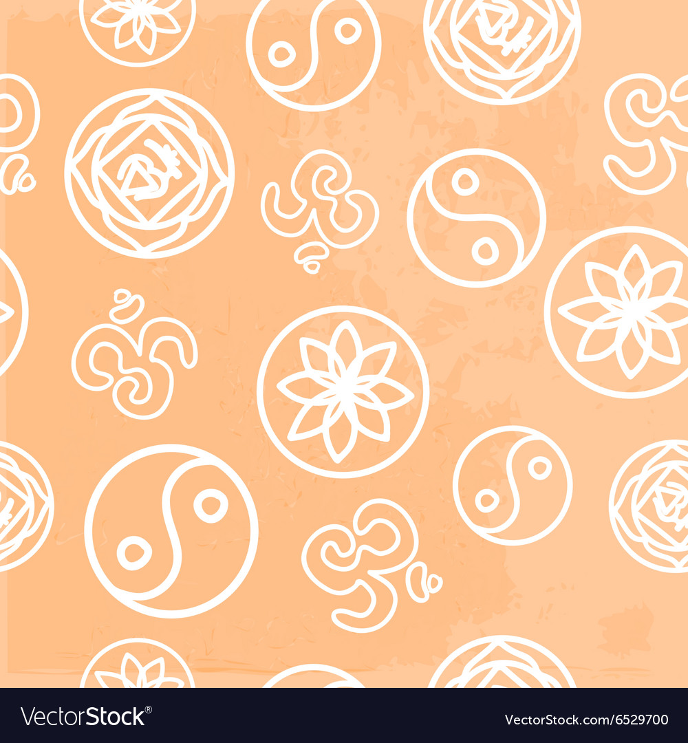 Pattern with symbols of yoga vector