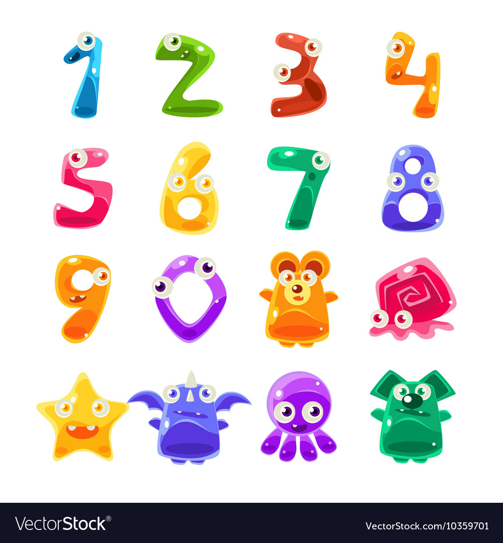 Digit shaped animals and jelly creatures set vector
