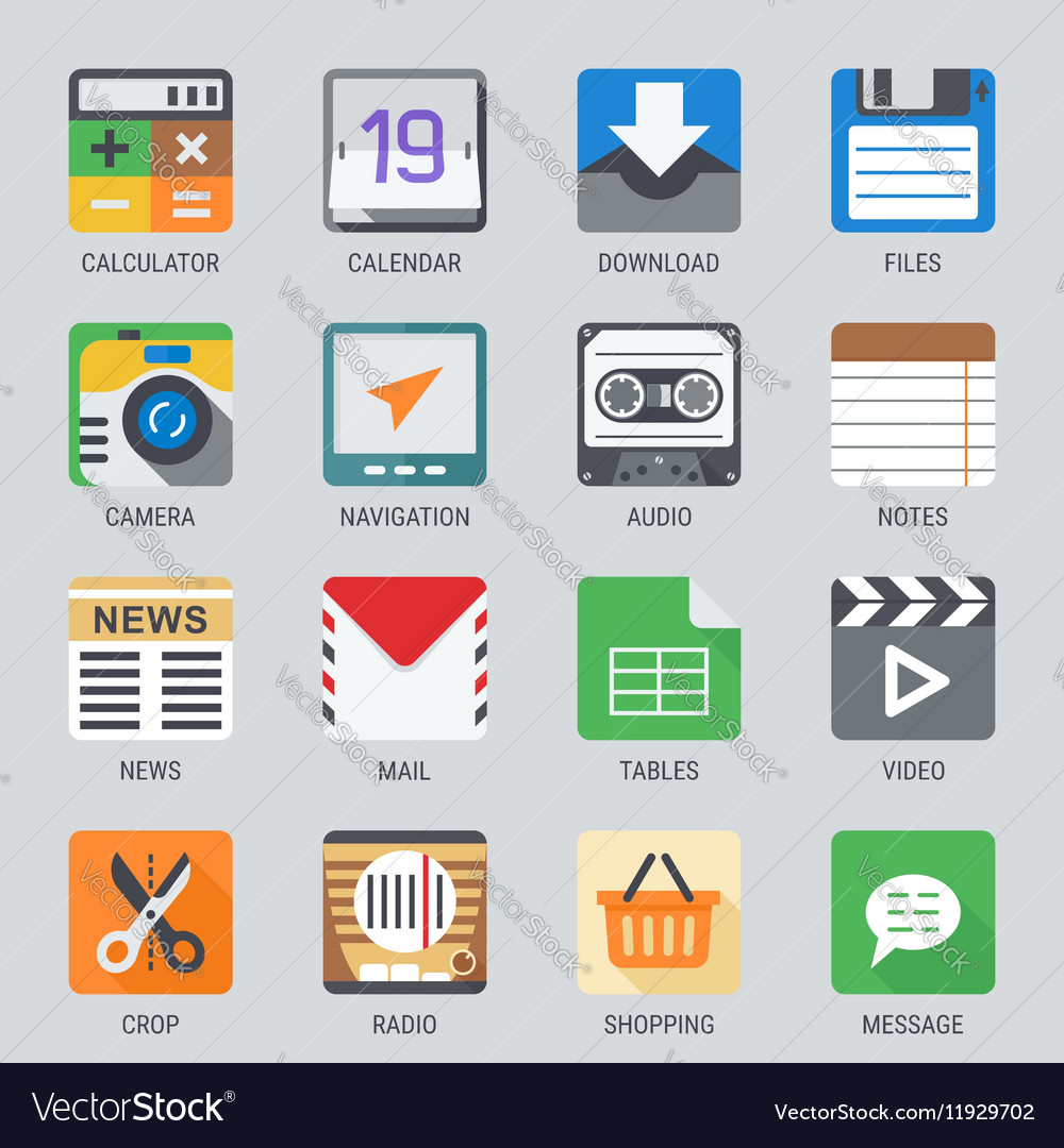Flat icon set for web and mobile application no1 vector