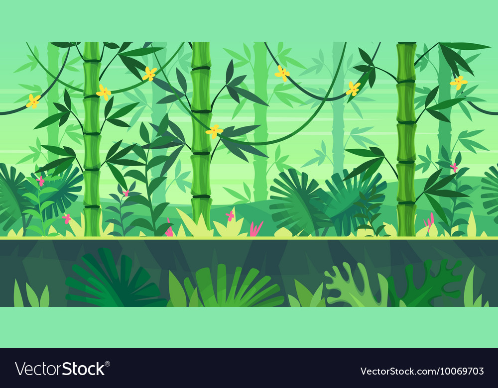 Cartoon nature seamless landscape with jungle vector