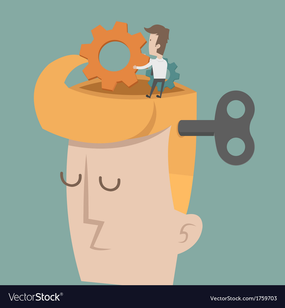 Head and brain gears in progress vector