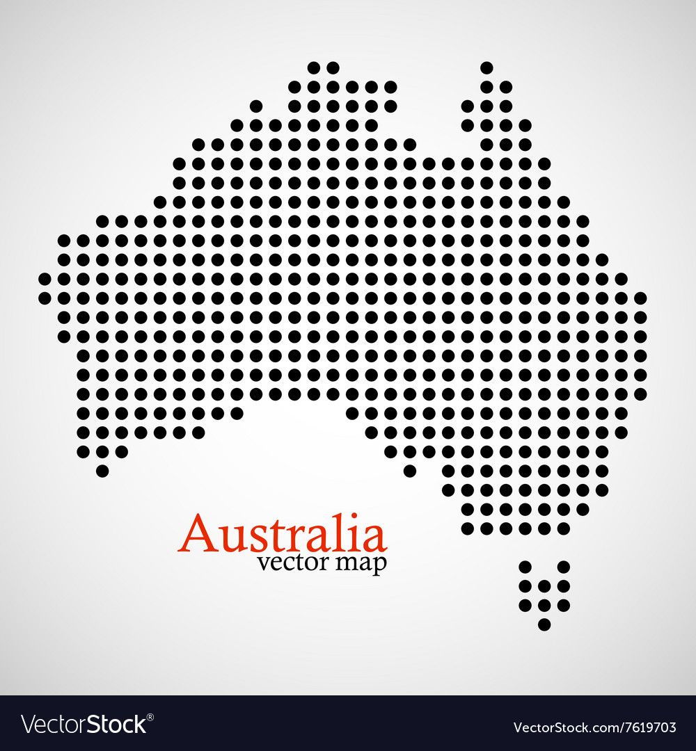 Map of australia from round dots vector