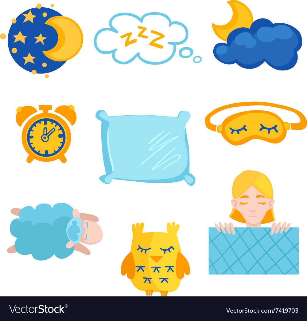 Sleep time flet icons set isolated vector