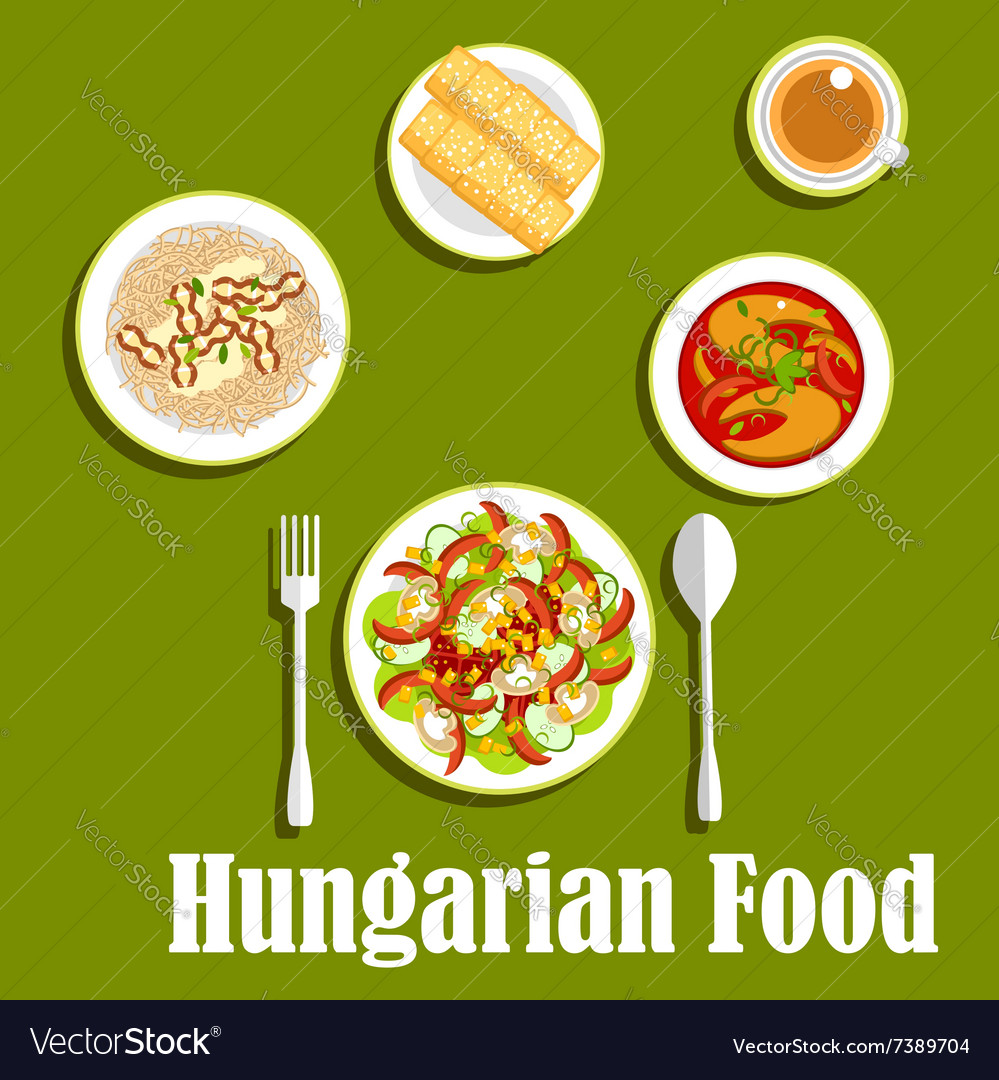 Dinner with dessert of hungarian cuisine vector