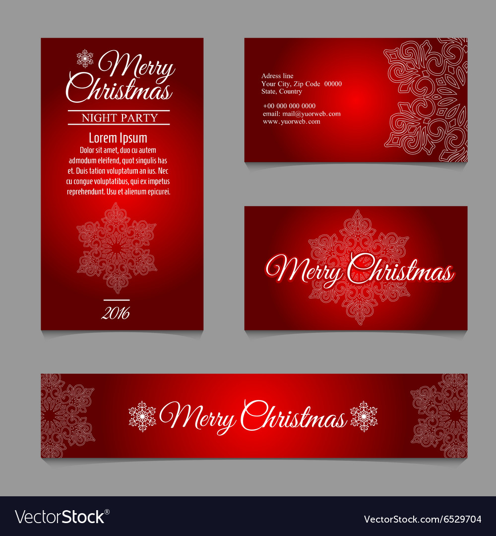 Four cards with white snowflakes on red background vector