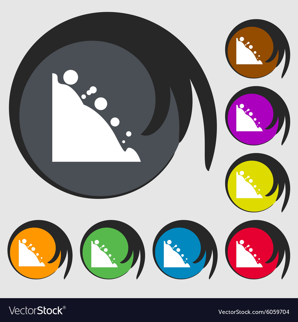Rockfall icon symbols on eight colored buttons vector