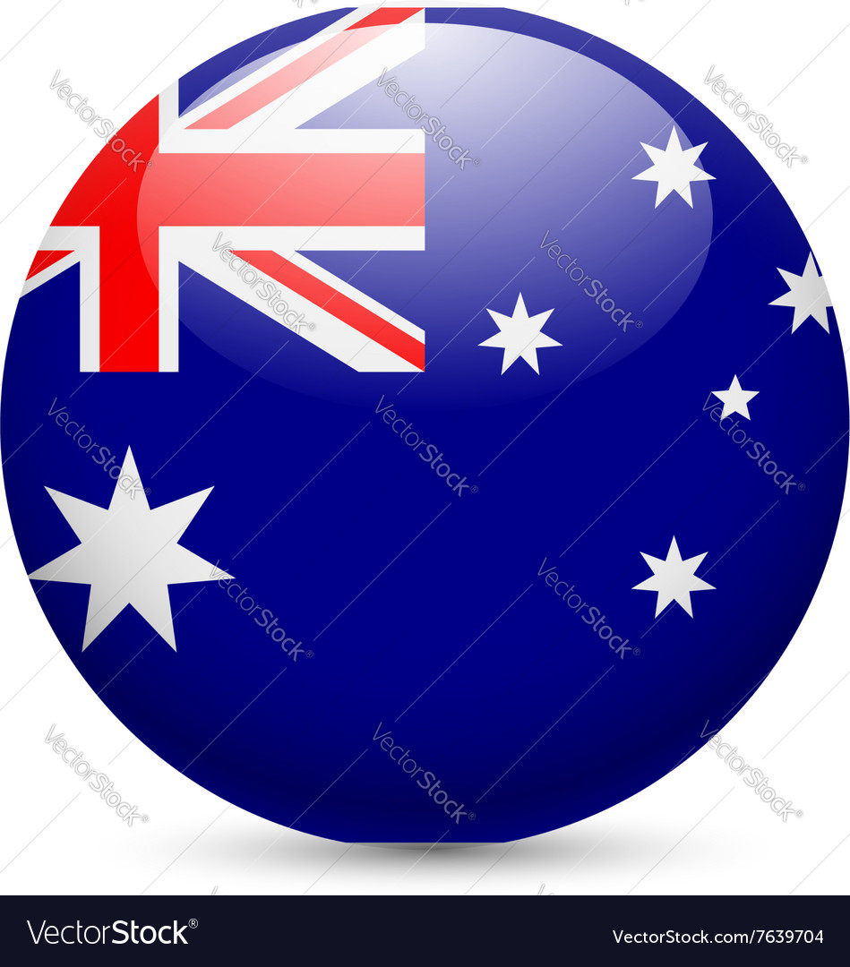 Round glossy icon of australia vector