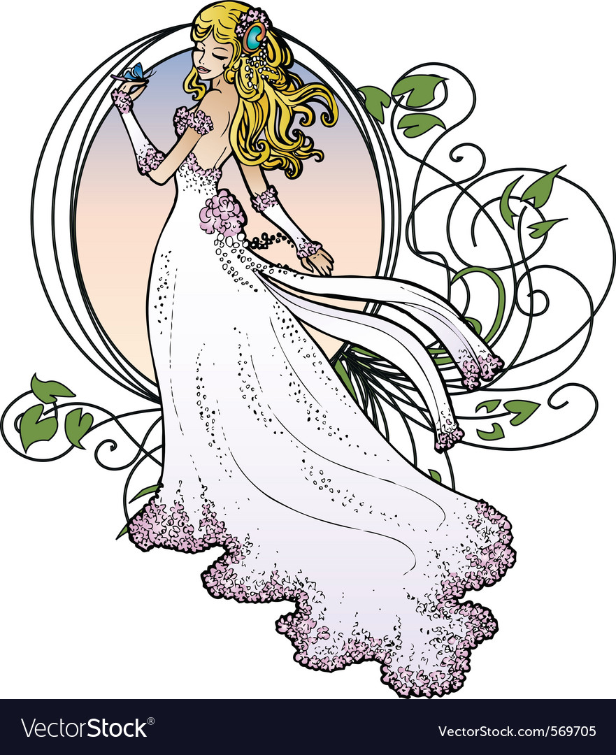 Art nouveau bride vector