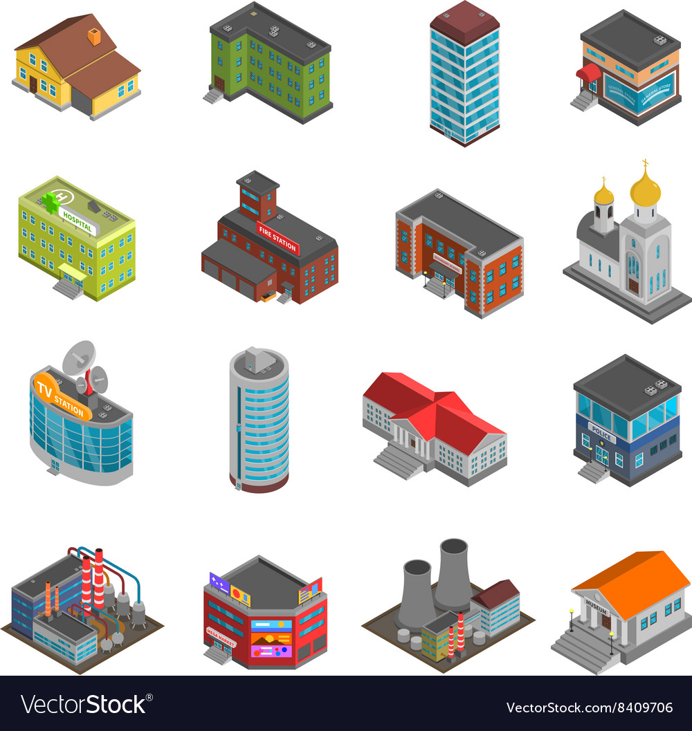 City buildings isometric icons set vector