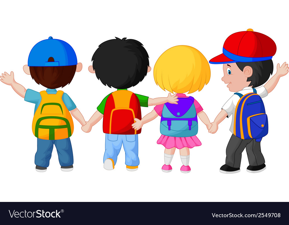 Happy young children cartoon walking together vector