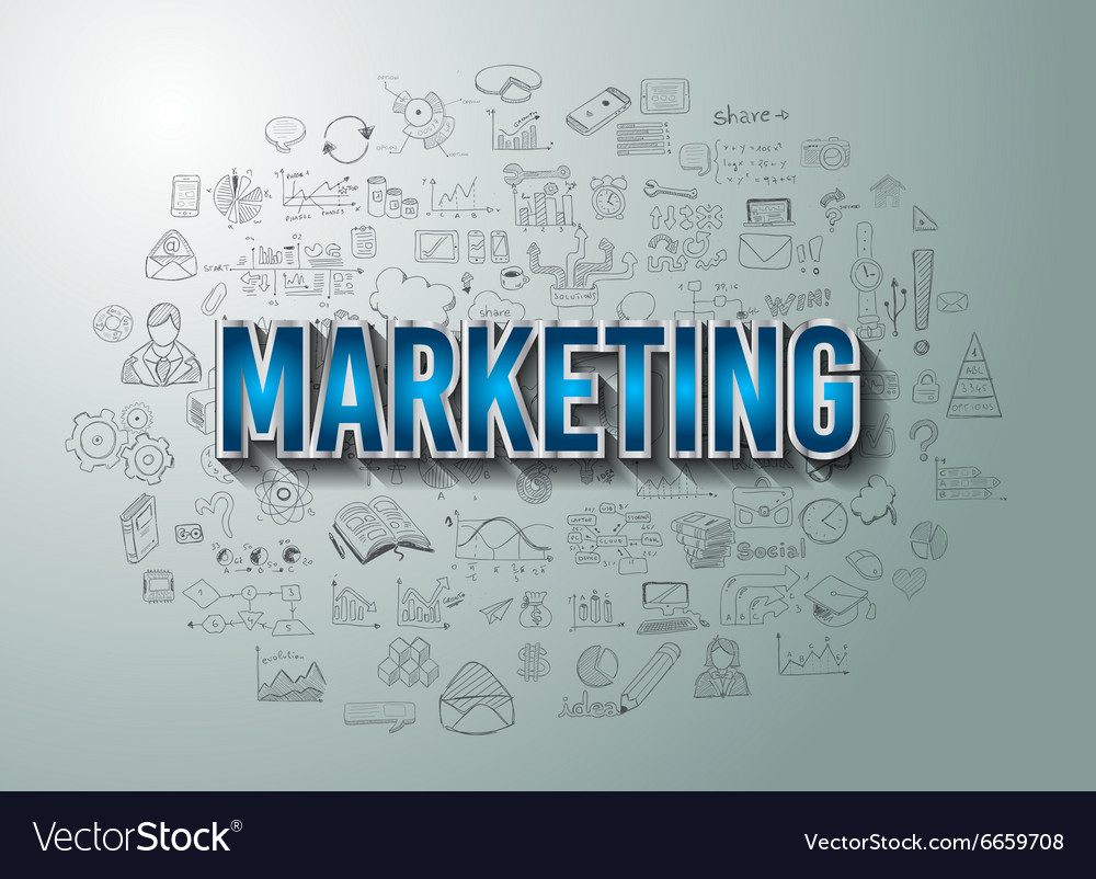 Marketing with doodle design style vector