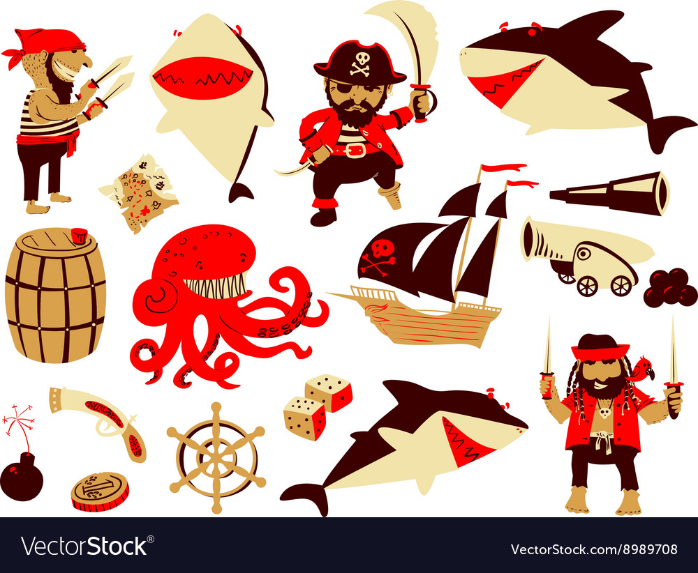Set with pirate and shark characters vector