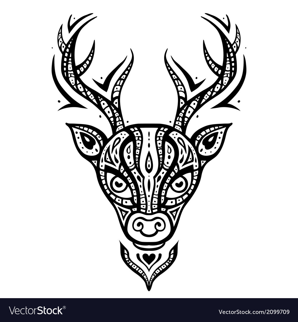 Deer head ethnic pattern vector